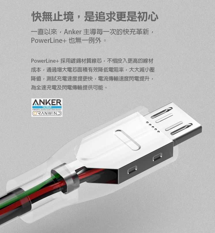 Anker PowerLine+Micro USB充電線(Android專用)-快無止盡的嚴選線材