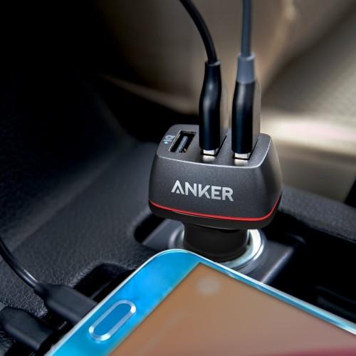 USB三口快充與愛車共同奔馳--Anker PowerDrive+3 智慧型三孔USB車充